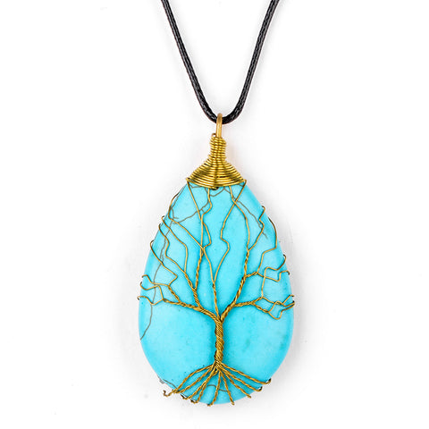 Tree of Life Stone Pendant Charms Necklaces