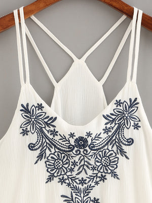 Open image in slideshow, Embroidered White Cami Crop Tank