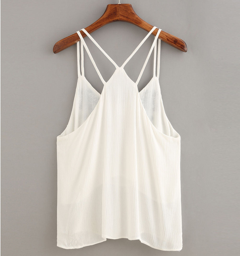 Embroidered White Cami Crop Tank