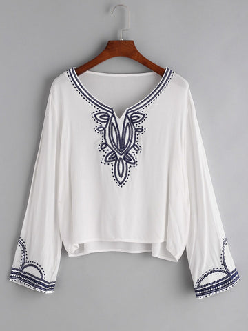 Flow of Elegance Embroidered Blouse