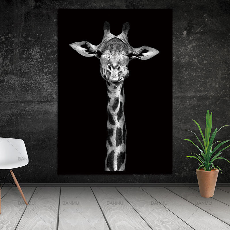 Giraff -Black and White Animal Canvas Print Collection