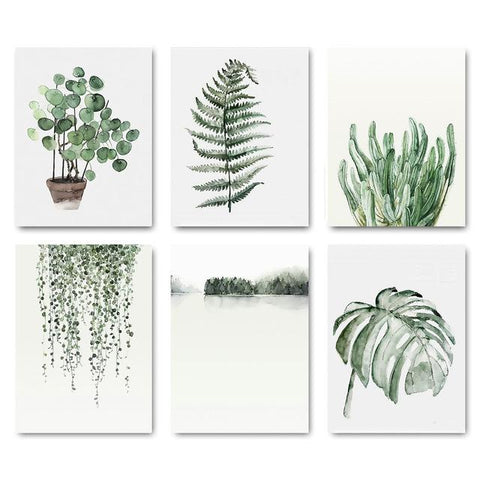 6 Piece SET Printed Water Leaves on...... Canvas !! Very cool !!