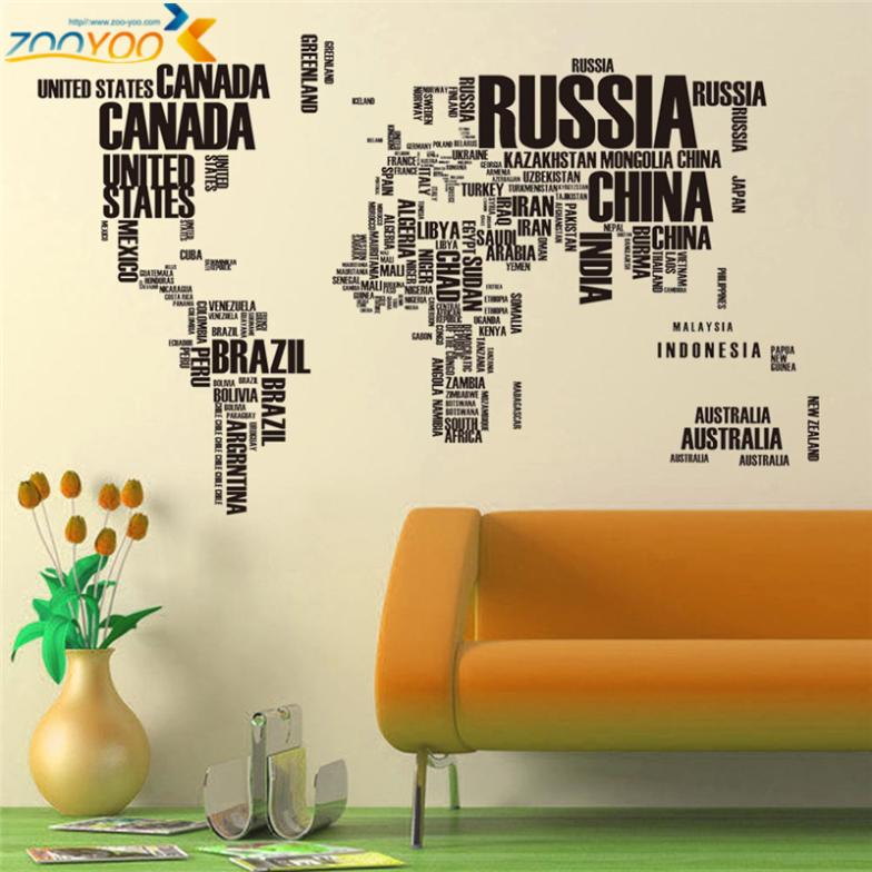 Black Large World Map Sticker
