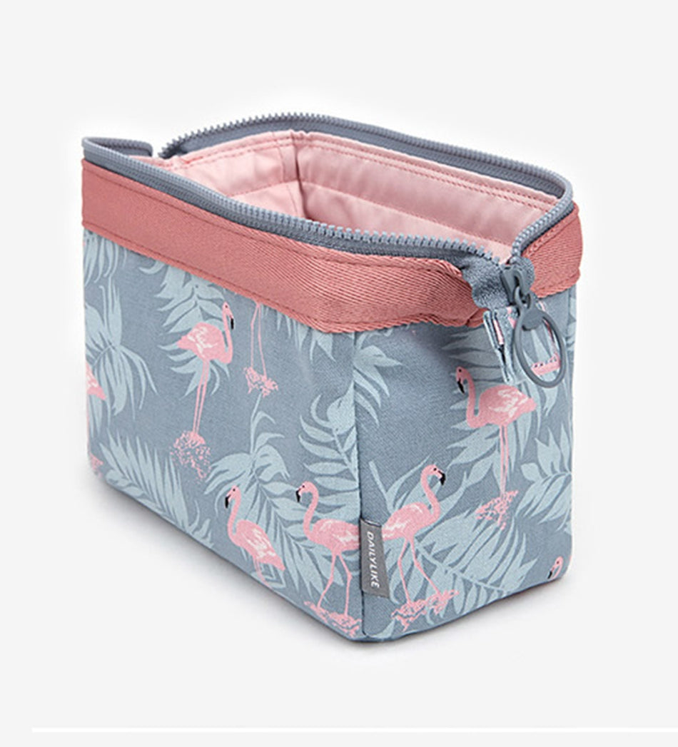 Liquid Resistant Flamingo Zipper Makeup Case