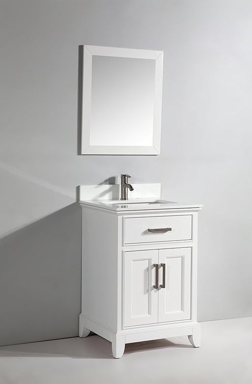 "Single Sink Bathroom Vanity White 30"" Phoenix Stone - Complete KIT with Faucet and Mirror"