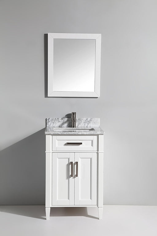 "Single Sink Bathroom Vanity White Carrara Marble 24"" - Complete KIT with Faucet and Mirror"