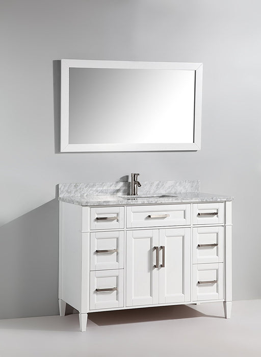 "Single Sink Bathroom Vanity White Carrara Marble 48"" - Complete KIT with Faucet and Mirror"