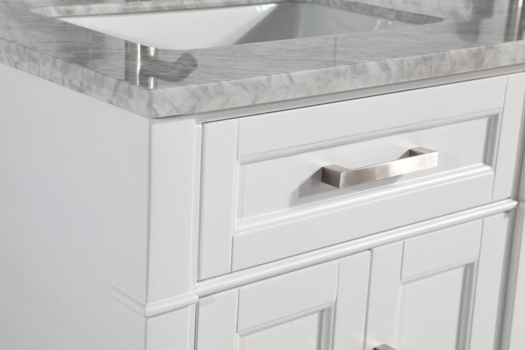 "Double Sink Bathroom Vanity White Carrara Marble 60"" - Complete KIT with Faucets and Mirror"