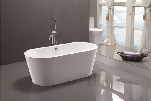 "Freestanding Soaking Bathtub Acrylic 59"" Complete KIT with freestanding Faucet"