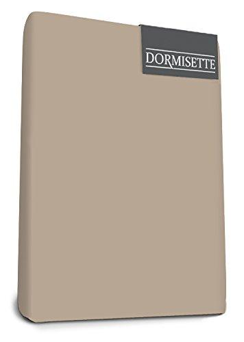 "Bed-Fashion ""Dormisette"" Elastane Topper Fitted Sheet, Mako-Satin, Taupe, Double, 160 x 200 cm"