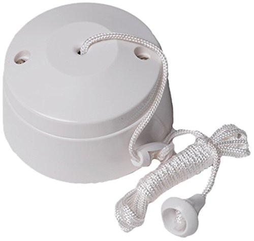 Bulk Hardware BH02684 Ceiling Round Pull Cord Switch, 5 A - White