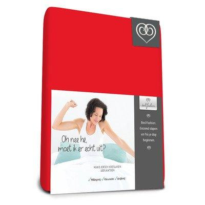 Bed-Fashion Luxe Elastane fitted sheet, Mako-Satin, Red, Double, 140 x 210 cm