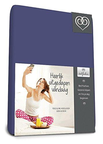 Bed-Fashion Fitted Sheet, Cotton, Medium Blue, Single, 80 x 200 cm