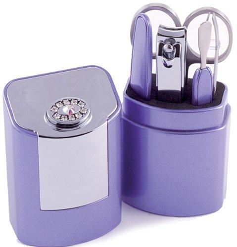 5 Piece Manicure Set With Swarovski Elements in Case - Lilac