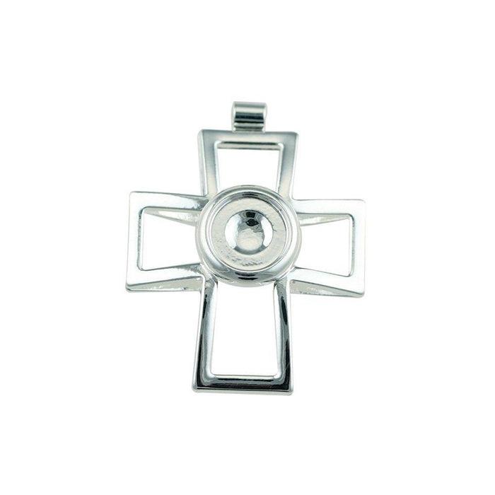 Bead House Cross Pendant with 10 mm Cup, Silver Plated