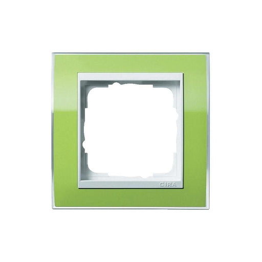 Gira 0211743 Event Single Switch Frame Clear Green with Pure White Intermediate Frame