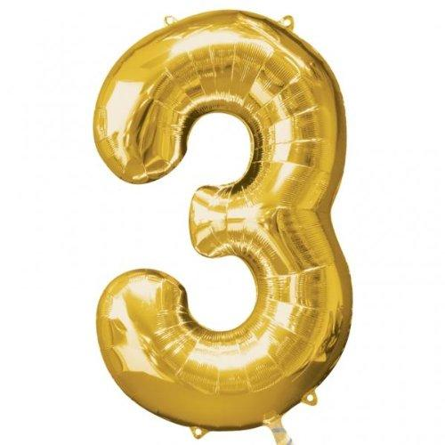 Amscan 22/ 55 x 34/ 86 cm Number 3 Super Shape Foil Balloon, Gold