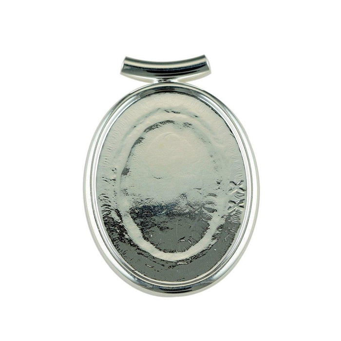 Bead House Silver Plated Tube Top Pendant with 40x30mm Cup, 1 Piece, Silver Plated,