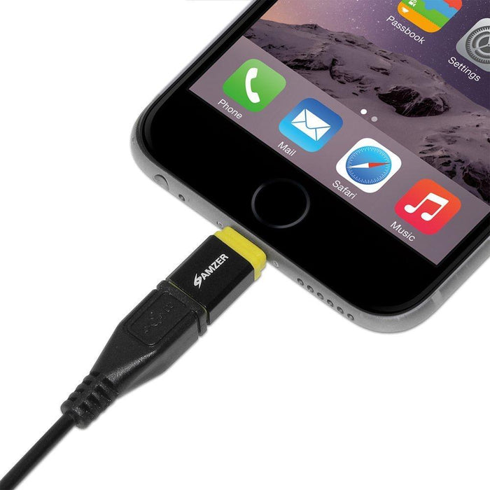 Amzer MFi Certified Lightning to MicroUSB Adapter - Yellow/ Black