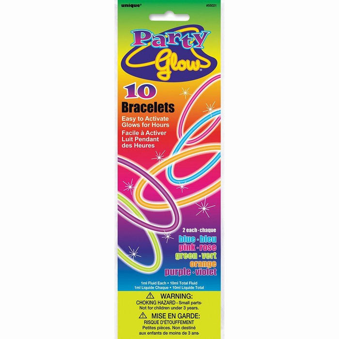 20cm Glow Bracelets, Assorted Pack of 10