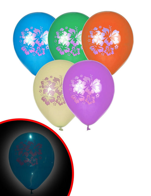 "10"" Latex Hibiscus Flower LED Light Up Balloons, Assorted Pack of 5"