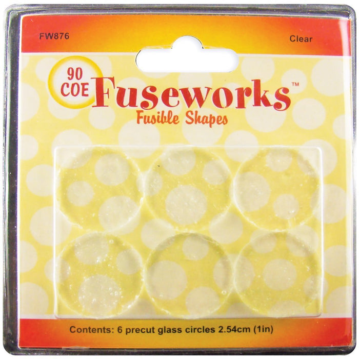 Diamond Tech Crafts Fuseworks Fusible Glass Shapes Round 1-inch 6/Pkg-Clear