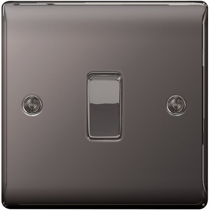 BG Electrical 10 A 1-Gang 2-Way Metal Nickle Light Switch - Black