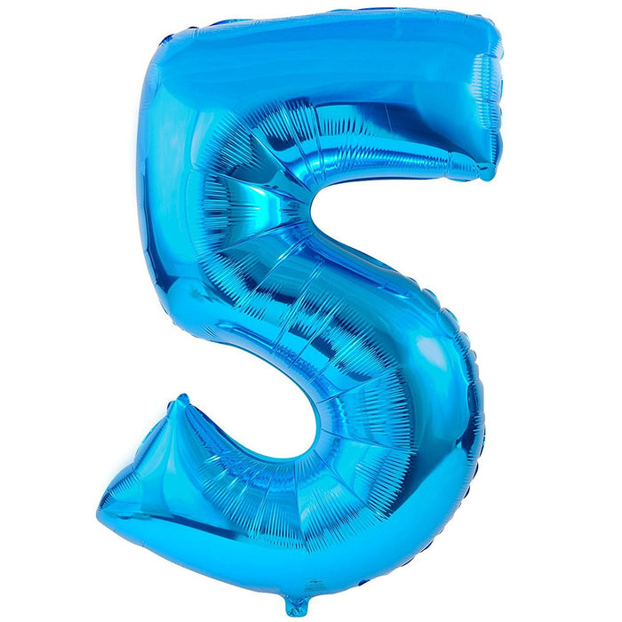 Amscan 21/ 53 x 34/ 86 cm Number 5 Super Shape Foil Balloon, Blue