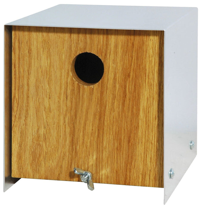 46800e Luxury Birdhouse Nesting Box in Cube-Shaped Design Made of Elegant Oak Wood with a Rustic Aluminium Roof