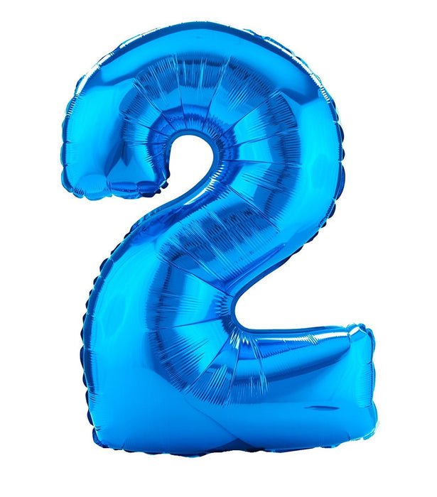Amscan 21/ 53 x 35/ 88 cm Number 2 Super Shape Foil Balloon, Blue