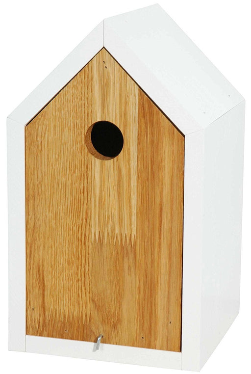 Design nesting box made from oak and pinewood with white pointed roof, detachable body