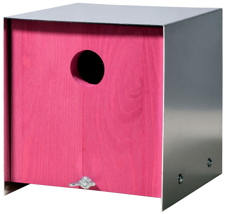 37422e Luxury Birdhouse Nesting Box in Cube-Shaped Pink Design Made of Pine Wood with Rustic Aluminium Roof