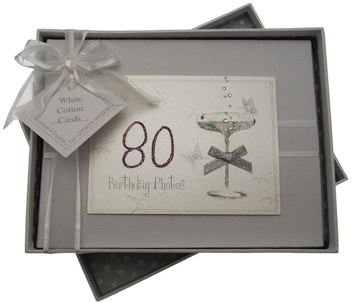 80th Birthday, Small Photo Album, Coupé Glass
