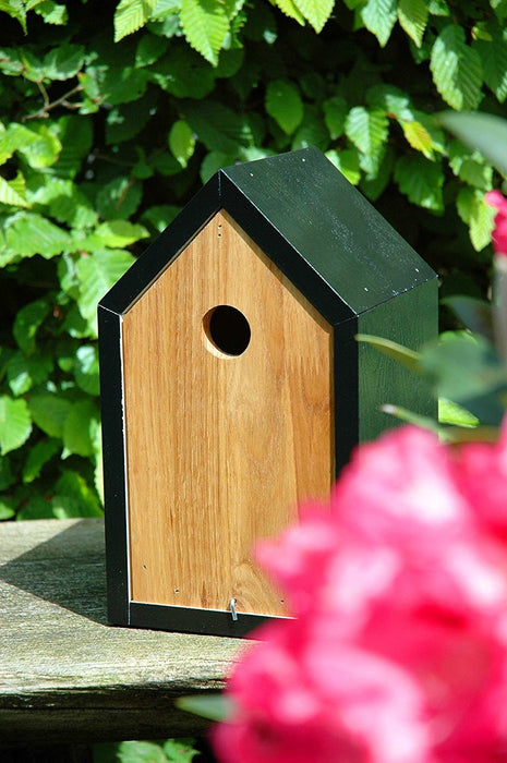 46762e Luxury Birdhouse Nesting Box with Black Pitched Roof and Pull-Out Body Made of Oak and Pine Wood