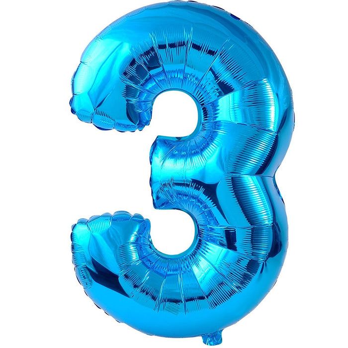 Amscan 22/ 55 x 34/ 86 cm Number 3 Super Shape Foil Balloon, Blue