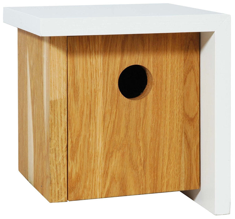 46756e Luxury Birdhouse Cube-Shaped Nesting Box with Asymmetrical White Roof Made of High-Quality Oak Wood