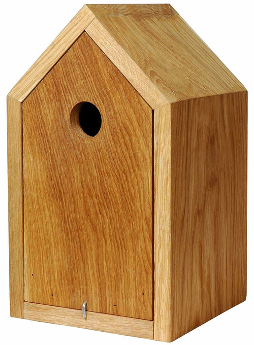 46760e Luxury Birdhouse Nesting Box with Pitched Roof and Pull-Out Body Made of Oiled Oak Wood