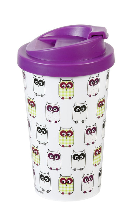 'Infinite by Geda Labels 12550 Coffee to Go Mug PP/Little Owls Wildberry