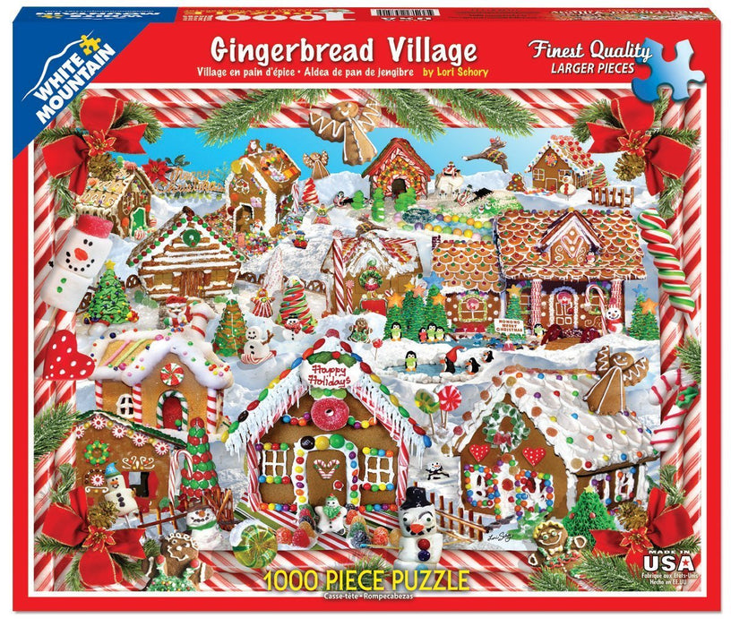 White Mountain Puzzles Jigsaw Puzzle 1000 Pieces 24-inch x 30-inch, Gingerbread Houses