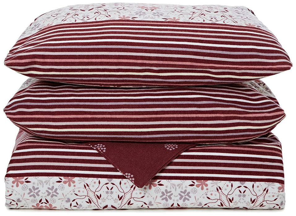 Bed-Fashion Duvet Cover, Flannel, Bordeaux, King, 240 x 220 cm, 3-Piece