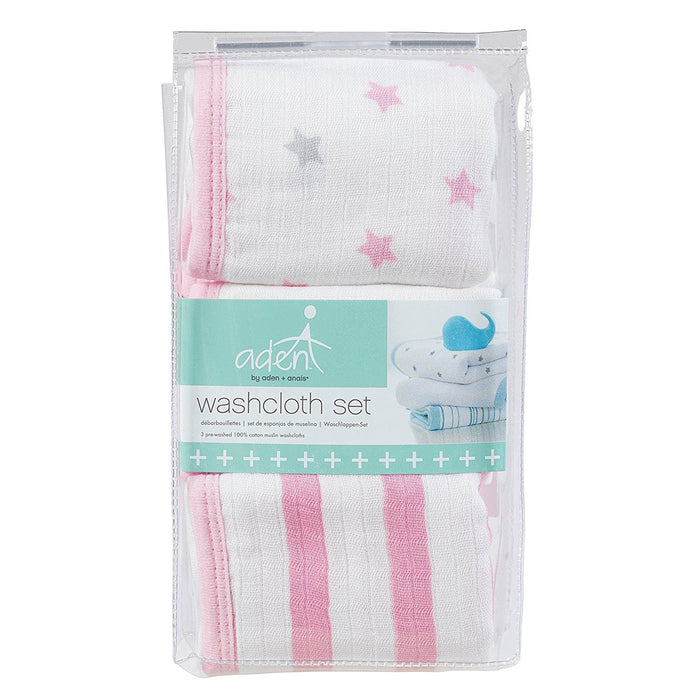 aden by aden + anais washcloth set 3-pack - darling