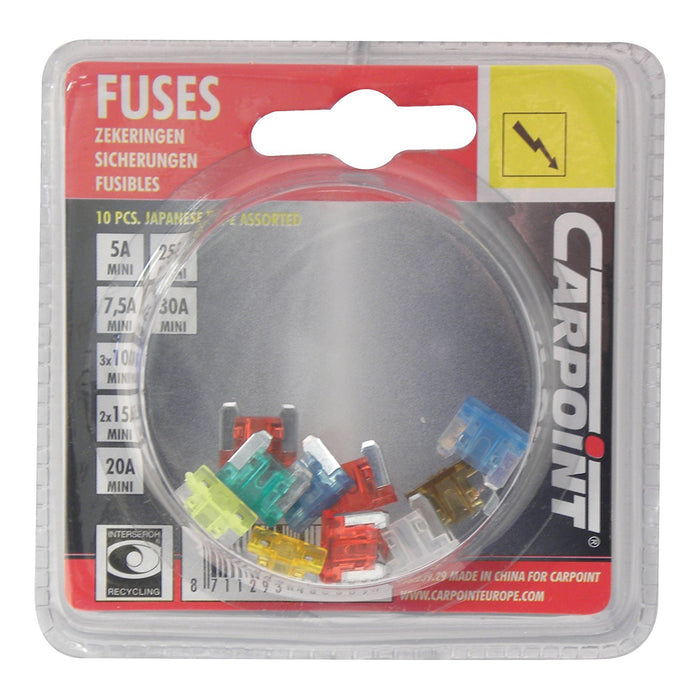 Carpoint 1623929 Low Profile Plug-in Fuses Assortment (10 Pieces)