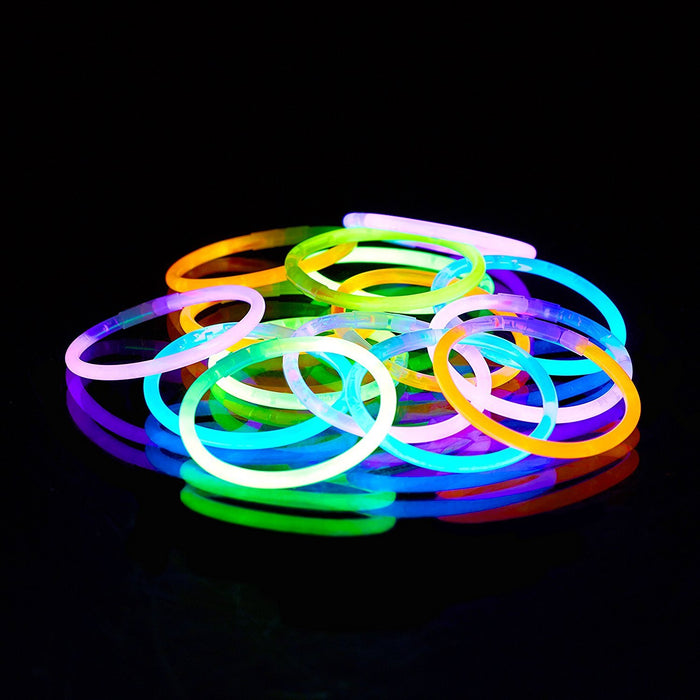 Relaxdays 100 Pack of Glow Sticks, Connector Included, Bendable Glow Stick Bracelets, Various Colours