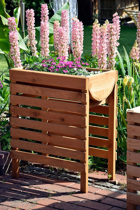 Dobar Decorative Raised Bed (Pine Wood, Brown) for the Garden / Raised Table Bed Set for Vegetables, Herbs, Flowers, Flower Beds for Patio, Balcony