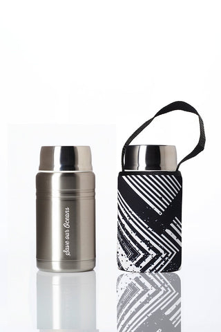 BBBYO Foodie insulated lunch container + carry cover- stainless steel - 750 ml - Circuit print