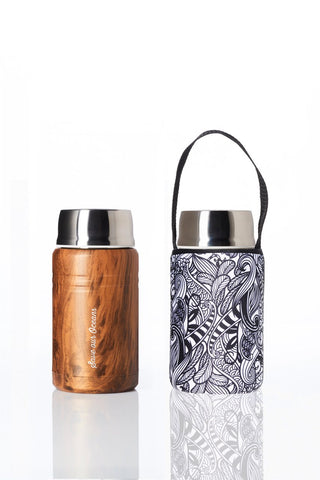 BBBYO Foodie insulated lunch container + carry cover - stainless steel - 750 ml - Koru print