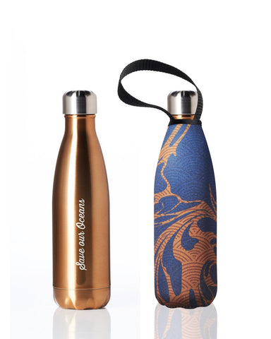 BBBYO Future Bottle + carry cover - stainless steel insulated bottle - 500 ml - Brill gold print