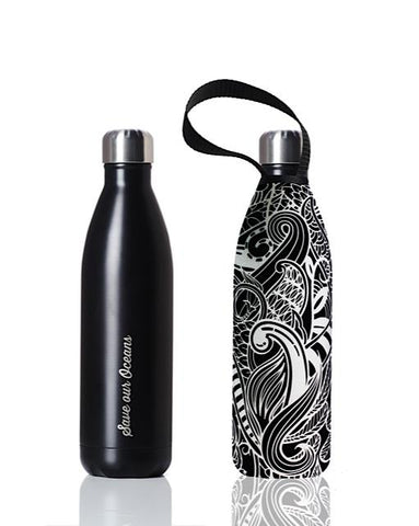 BBBYO Future Bottle + carry cover - stainless steel insulated bottle - 1000 ml - Black Koru