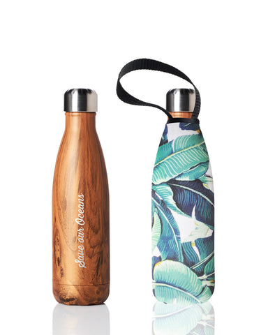BBBYO Future Bottle + carry cover - stainless steel insulated bottle - 500 ml - Banana leaf print