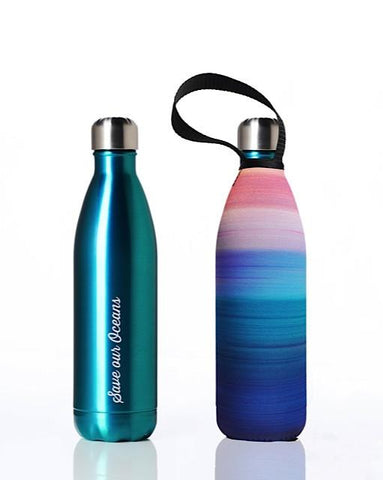 BBBYO Future Bottle + carry cover - stainless steel insulated bottle - 750 ml - Peace print